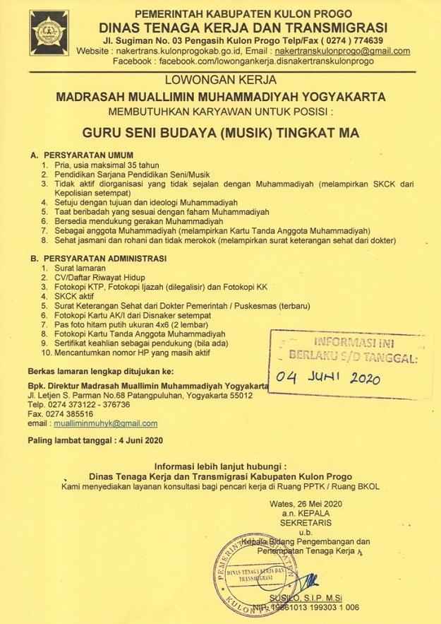 Disnakertrans Lowongan Guru Seni Dan Budaya Musik Tingkat Ma Di Madrasah Muallimin Muhammadiyah Yogyakarta