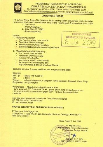 Disnakertrans Lowongan Crew Store Amp Crew Store Difable Di Alfamart