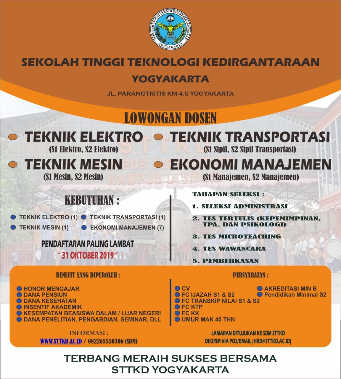 Disnakertrans Lowongan Kerja Dosen Teknik Mesin Sttkd Yogyakarta
