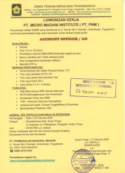 Disnakertrans Lowongan Kerja Pt Micro Madani Institute Pt Pnm