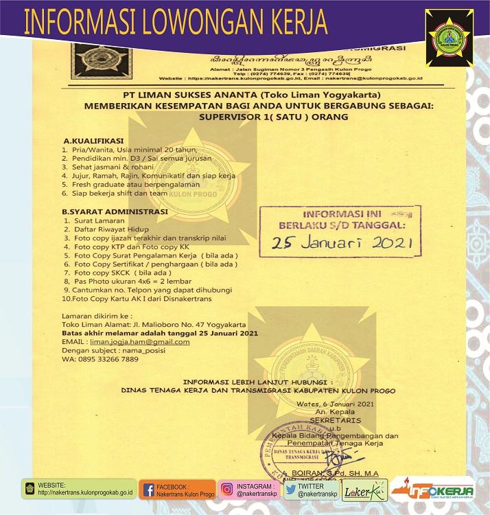Disnakertrans Lowongan Kerja Supervisor Di Toko Liman Yogyakarta