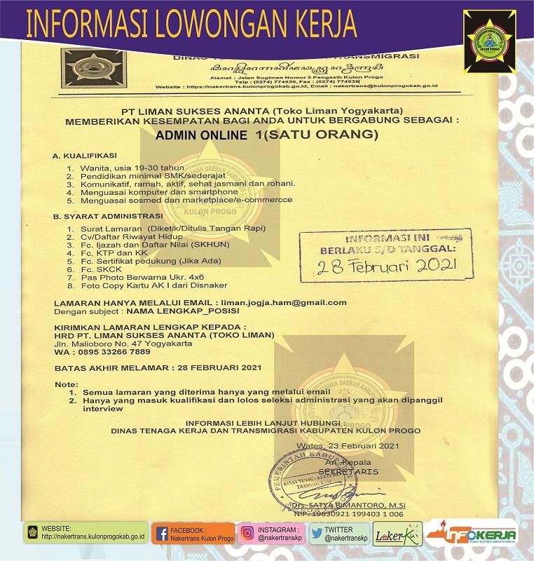 Disnakertrans Lowongan Kerja Admin Online Pt Liman Sukses Antara Toko Liman Yogyakarta