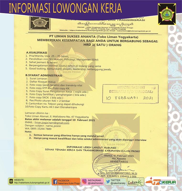 Disnakertrans Lowongan Kerja Staf Hrd Pt Liman Sukses Ananta Toko Liman Yogyakarta