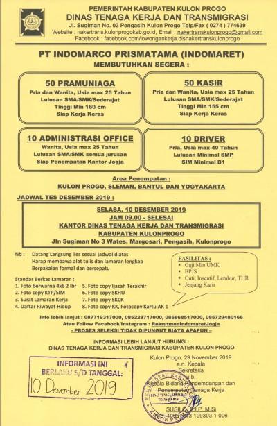Disnakertrans Lowongan Kerja Di Indomarco Prismatama