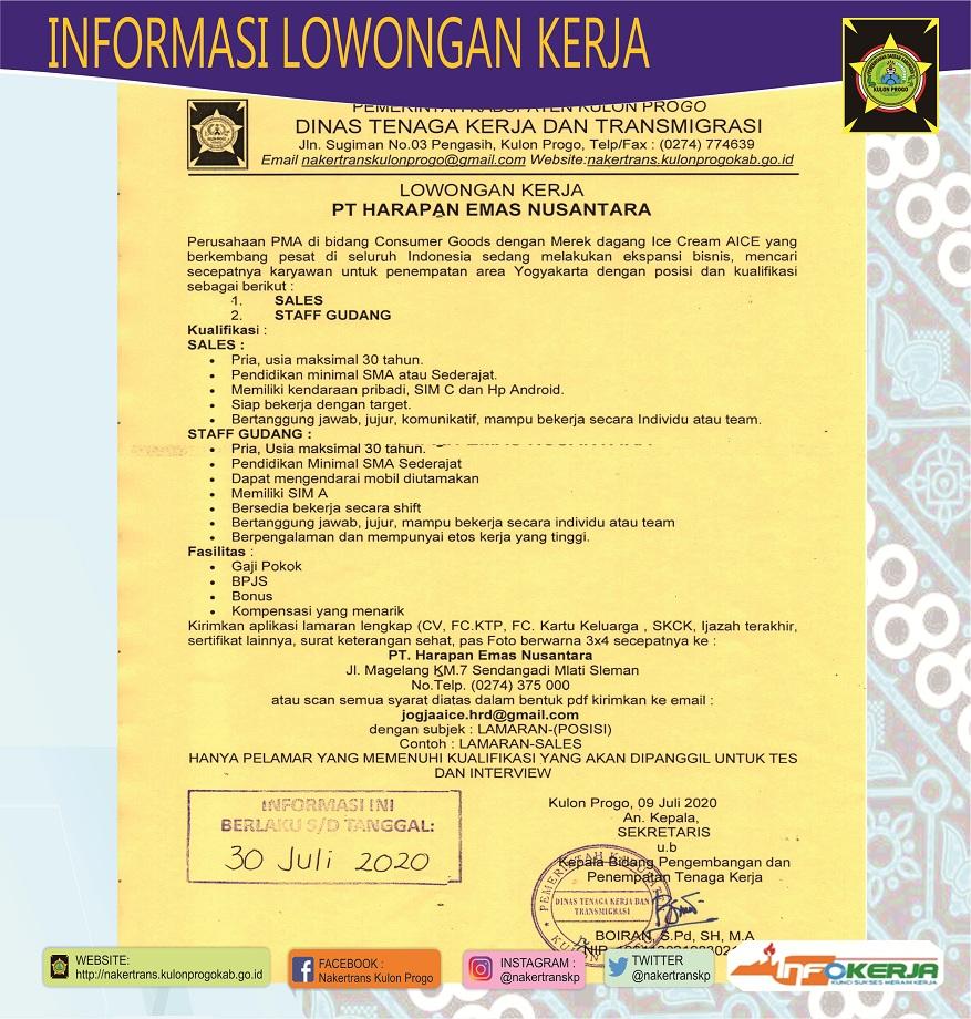 Disnakertrans Lowongan Kerja Sales Dan Staff Gudang Di Pt Harapan Emas Nusantara Sleman Yogyakarta
