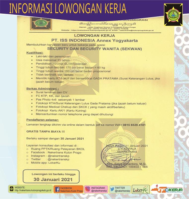 Disnakertrans Lowongan Kerja Security Dan Security Wanita Sekwan Pt Iss Indonesia Annex Yogyakarta