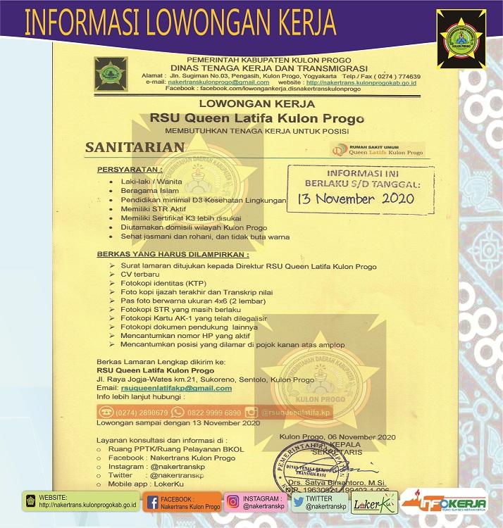 Disnakertrans Lowongan Kerja Sanitarian Di Rsu Queen Latifa Kulon Progo
