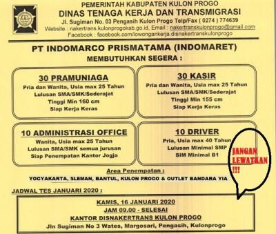 Disnakertrans Lowongan Pramuniaga Kasir Administrasi Office Dan Driver Di Pt Indomarco Prismatama
