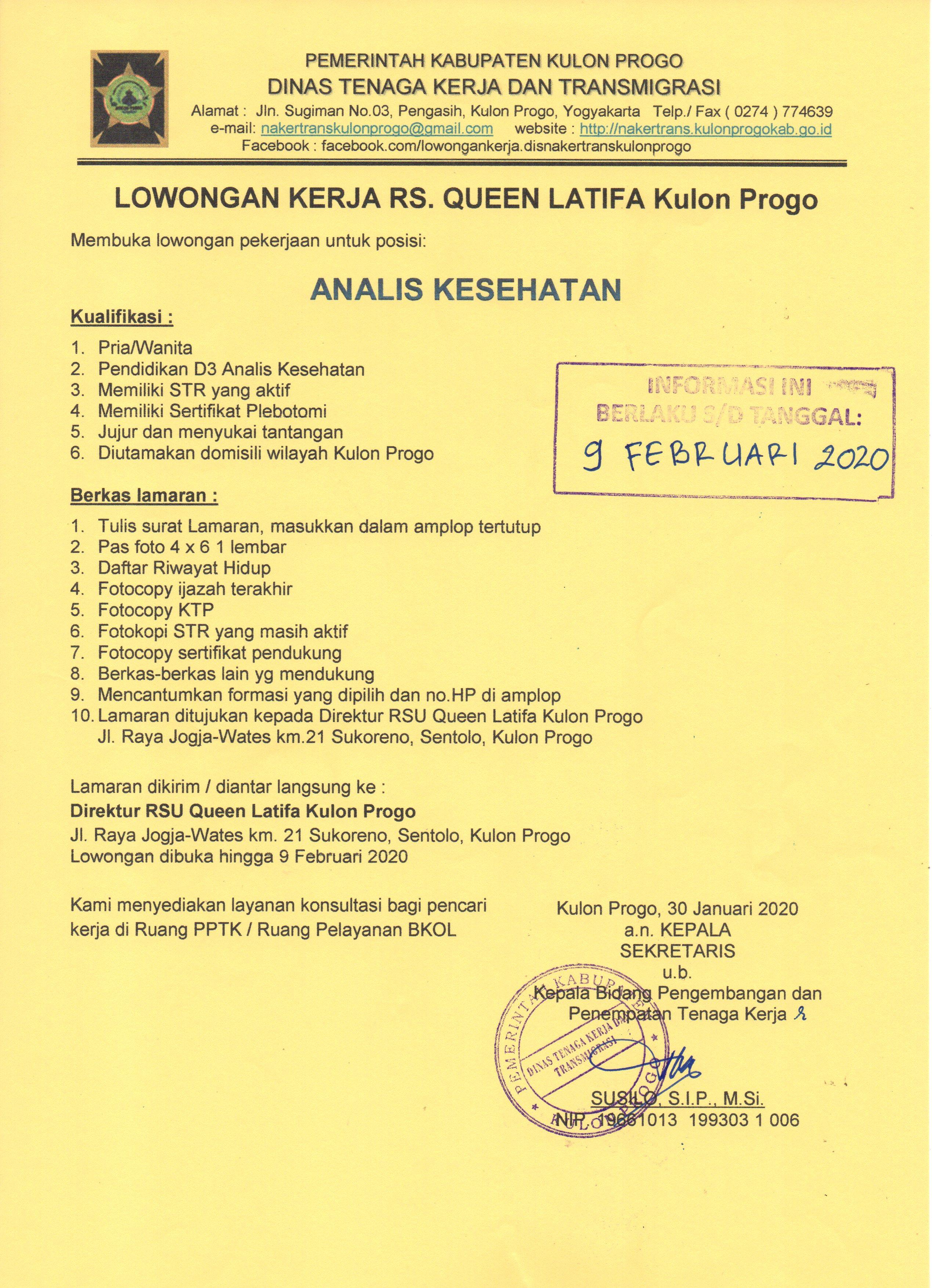 Disnakertrans Lowongan Kerja Analis Kesehatan Di Rs Queen Latifa Kulon Progo