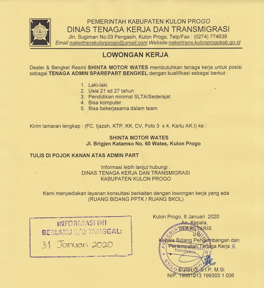 Disnakertrans Lowongan Tenaga Admin Sparepart Bengkel Di Shinta Motor Wates