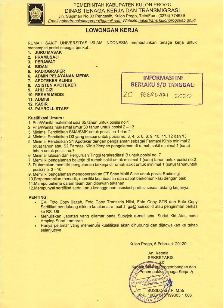Disnakertrans Lowongan Kerja Di Rs Uii Yogyakarta